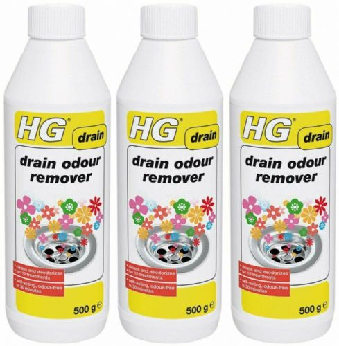 HG 624050106 Drain Odour Remover 500g 10 treatments 3 pack